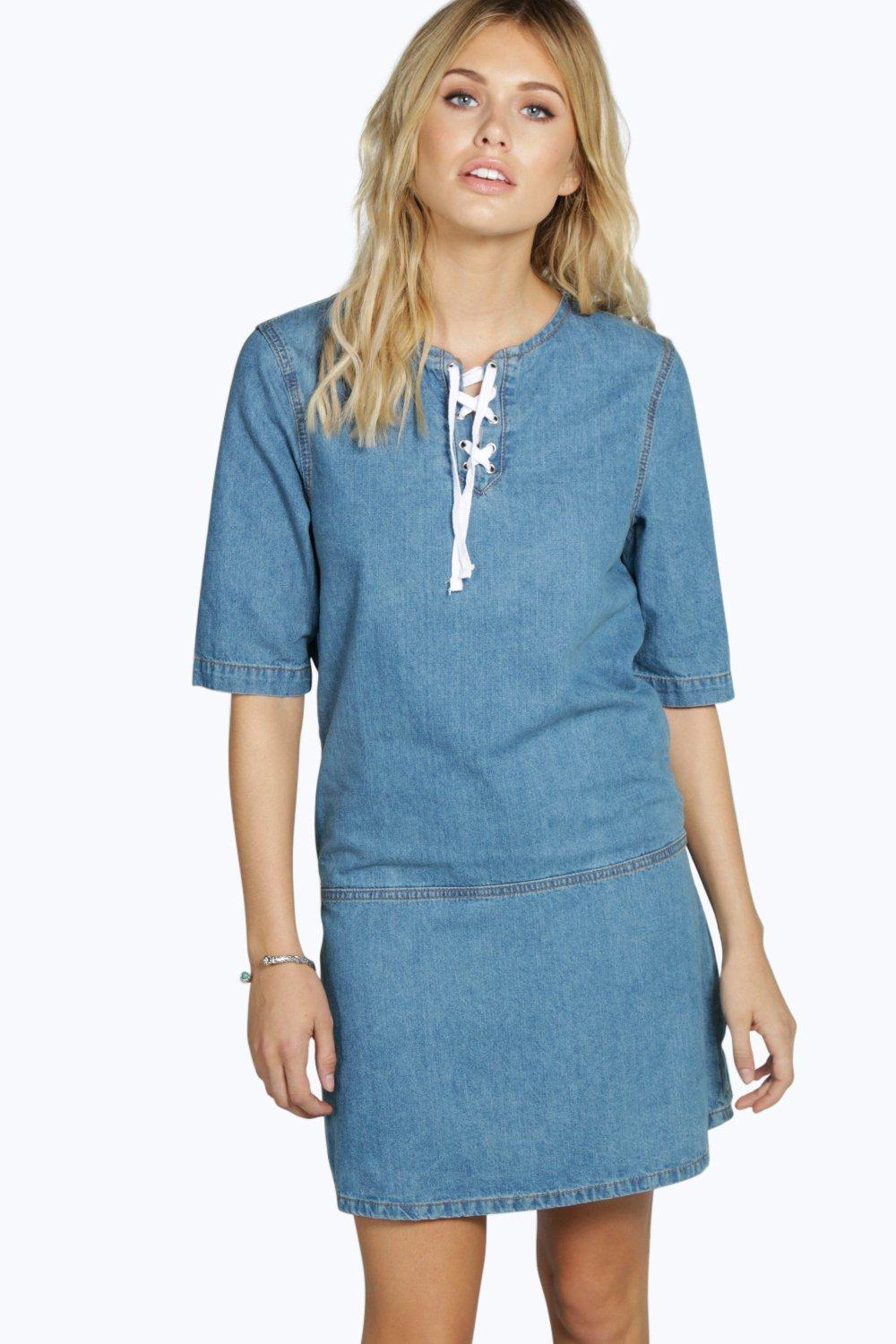 Laura Lace Up Front Tunic Denim Dress