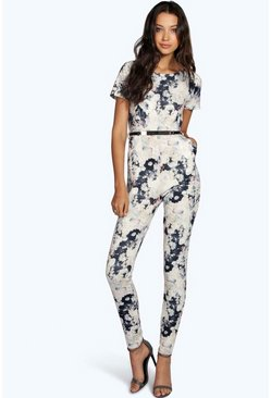 Tall Paloma Floral Print Belted Jumpsuit