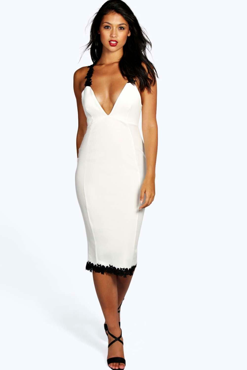 Zana Crochet Trim Detail Plunge Midi Bodycon Dress
