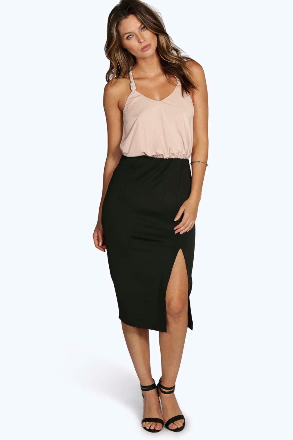 Ava Embellished Midi Bodycon Dress  blush