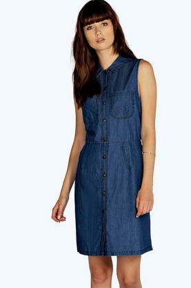 Eliza Button Through Denim Shirt Dress