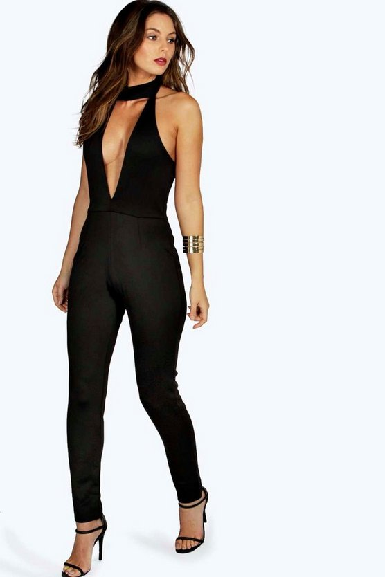 Hollie High Neck Deep Plunge Jumpsuit