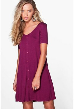 Milly Cap Sleeve Button Swing Dress