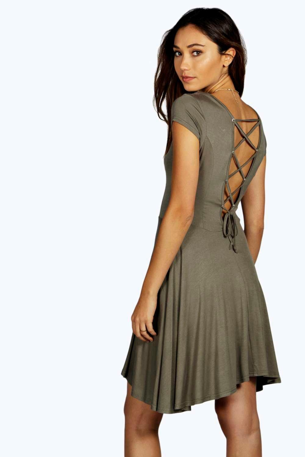 Madelinne Lace Up Back Skater Dress