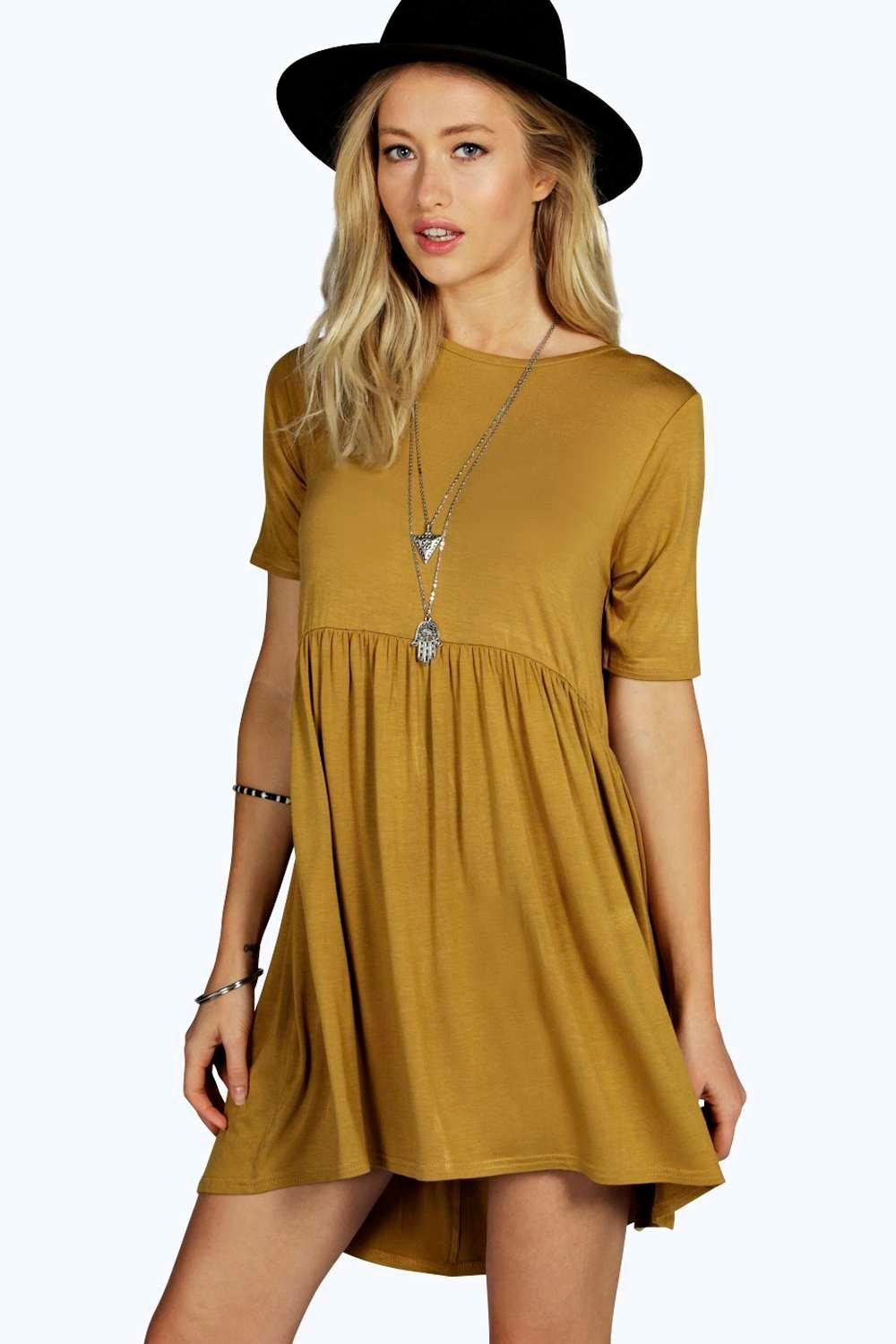 Sally Curved Waist Dip Back Smock Dress