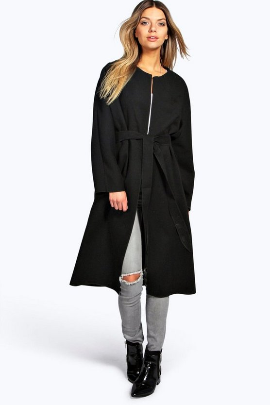 Bella Collarless Belted Wrap Robe Coat