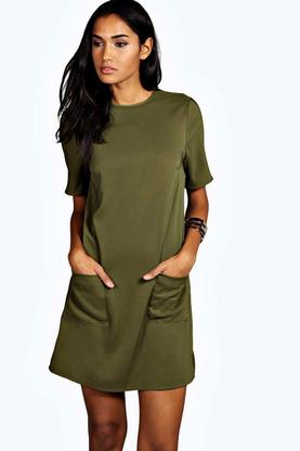Tall Isabella Double Pocket Shift Dress