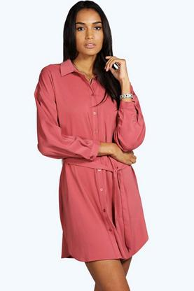 Tall Hilda Woven Shirt Dress With Belt