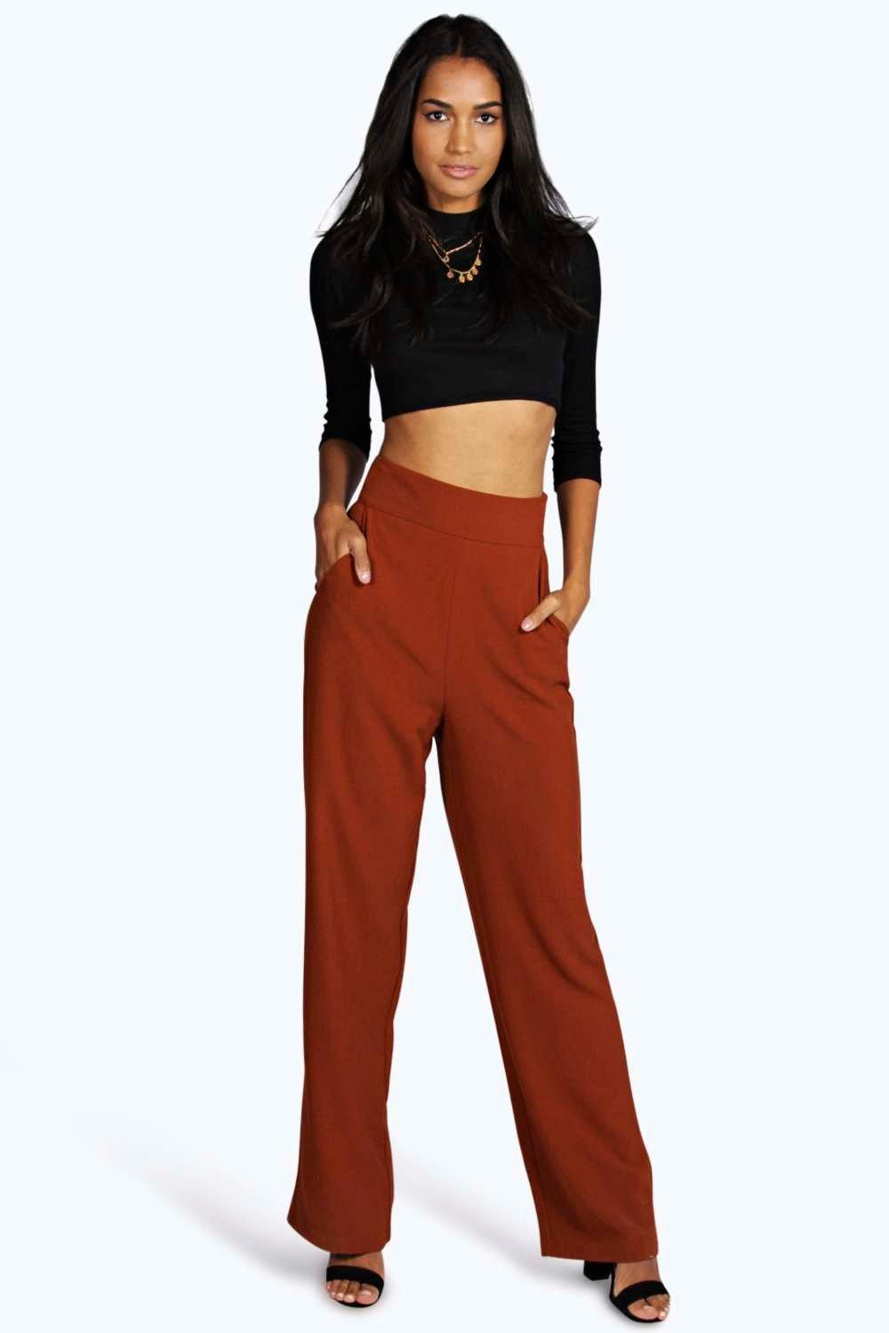 Tall Ria High Waisted Wide Leg Trousers