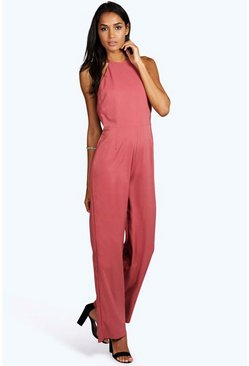 Tall Freya Halter Backless Wide Leg Jumpsuit