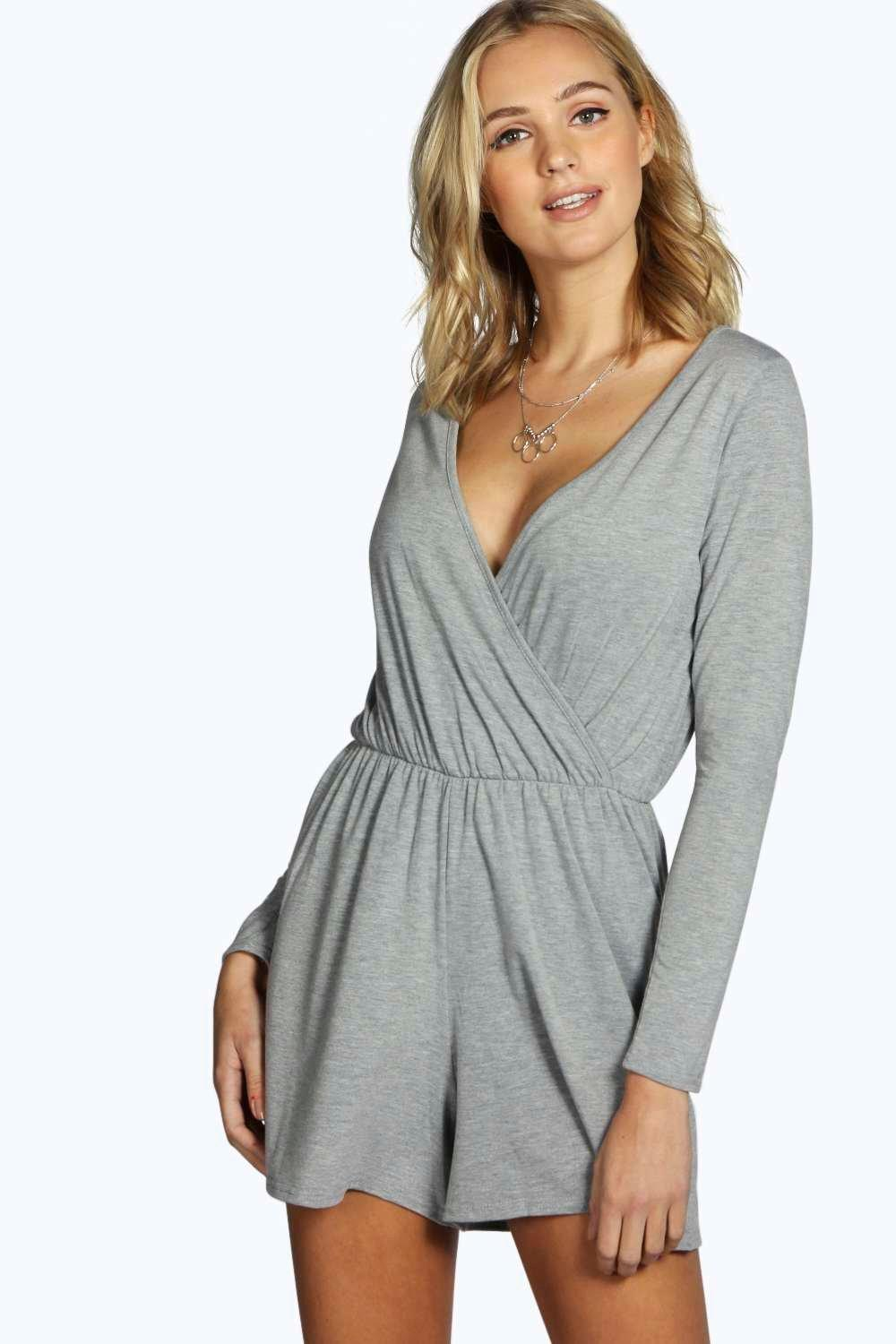Tall Aveline Wrap Front Long Sleeve Playsuit