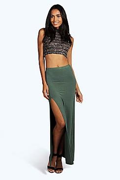 Tall Micha Basic Side Split Maxi Skirt