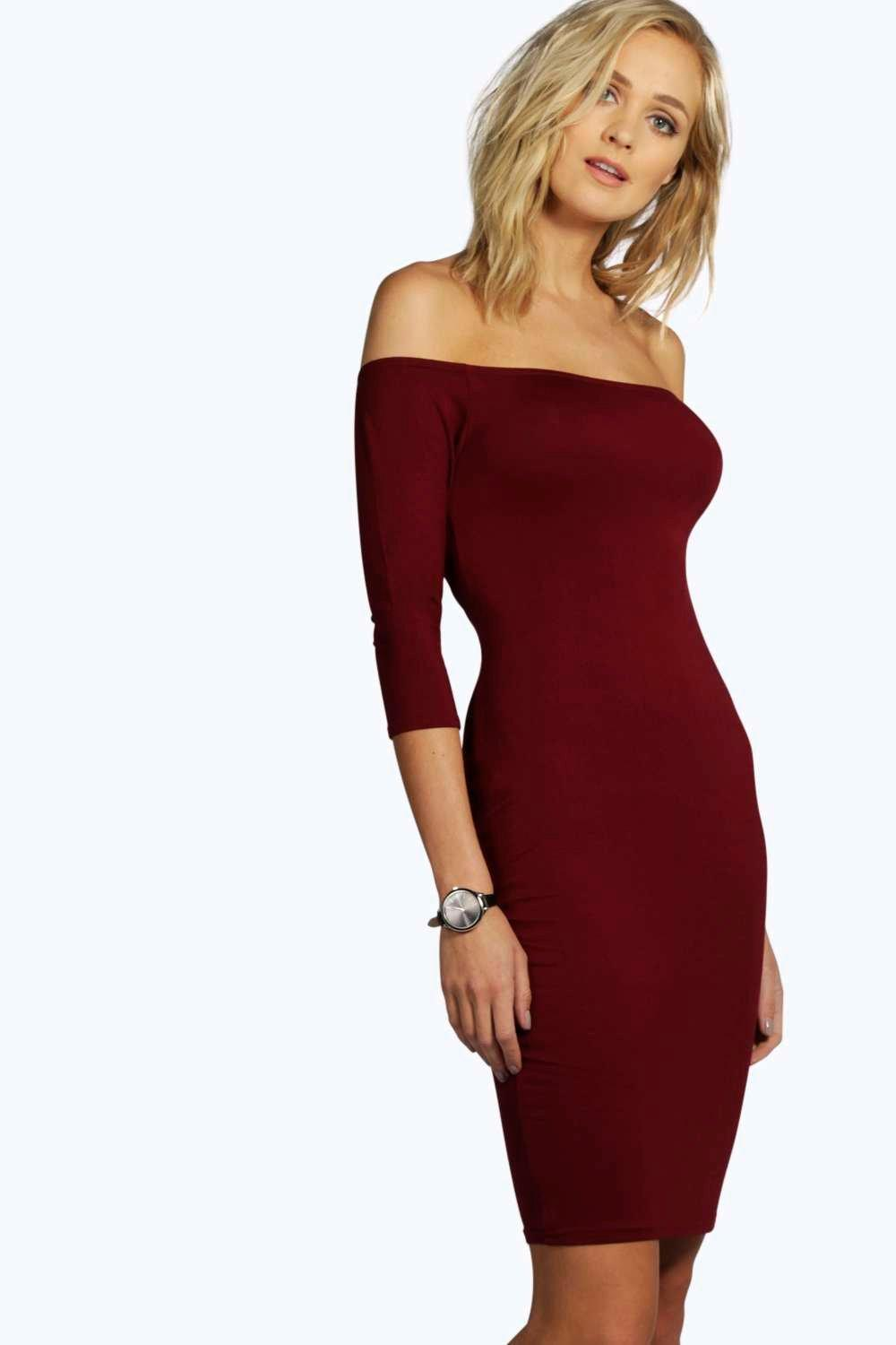 Tall Alice Jersey Basic Off The Shoulder Mini Dress