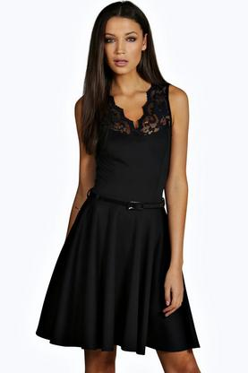 Tall Nadine Scallop Lace Skater Dress