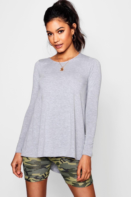 boohoo Womens Tall Long Sleeve Basic Swing Tee - Grey - 8, Grey