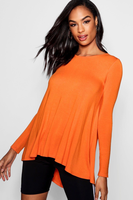 Womens Tall langärmeliges, ausgestelltes Basic T-Shirt - orange - 32, Orange - Boohoo.com