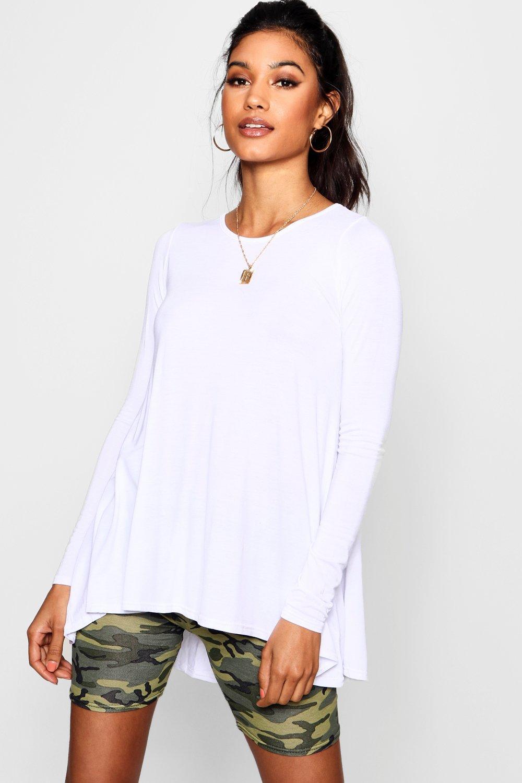 Womens Tall Long schlichtes, ausgestelltes T-Shirt - Weiß - 32, Weiß - Boohoo.com