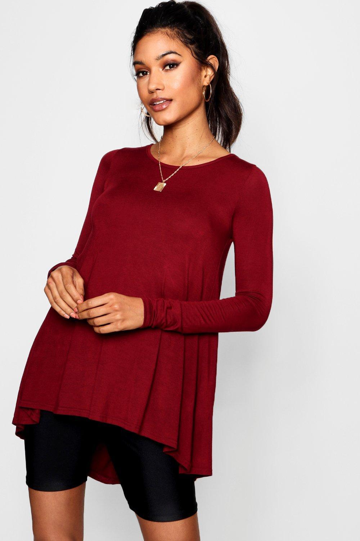 boohoo Womens Tall Long Sleeve Basic Swing Tee - Red - 8, Red