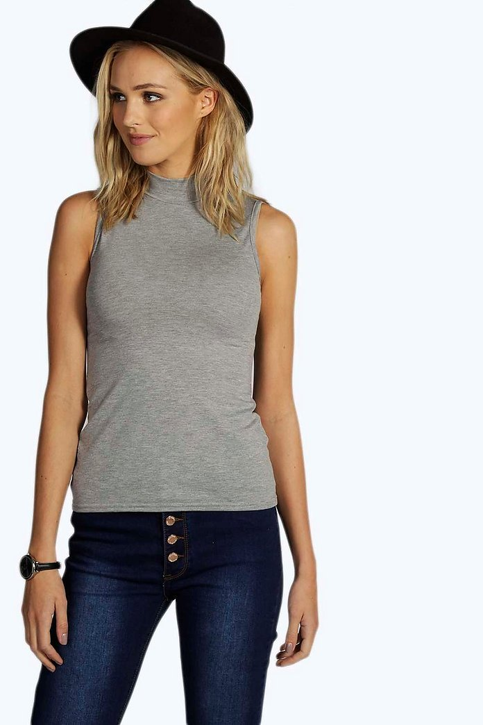 Tall Poppy Sleeveless Basic High Neck Top