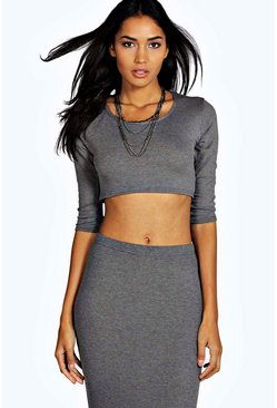 Tall Robyn Ribbed 1/2 Sleeve Crop Top