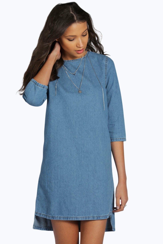 Tall Flo 3/4 Sleeve Denim Tunic Dress | Boohoo