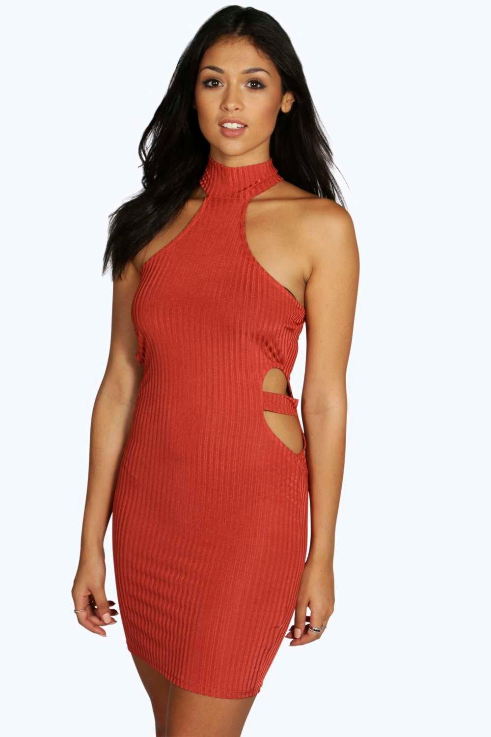 Emily Ribbed Cut Out Side Bodycon Dress