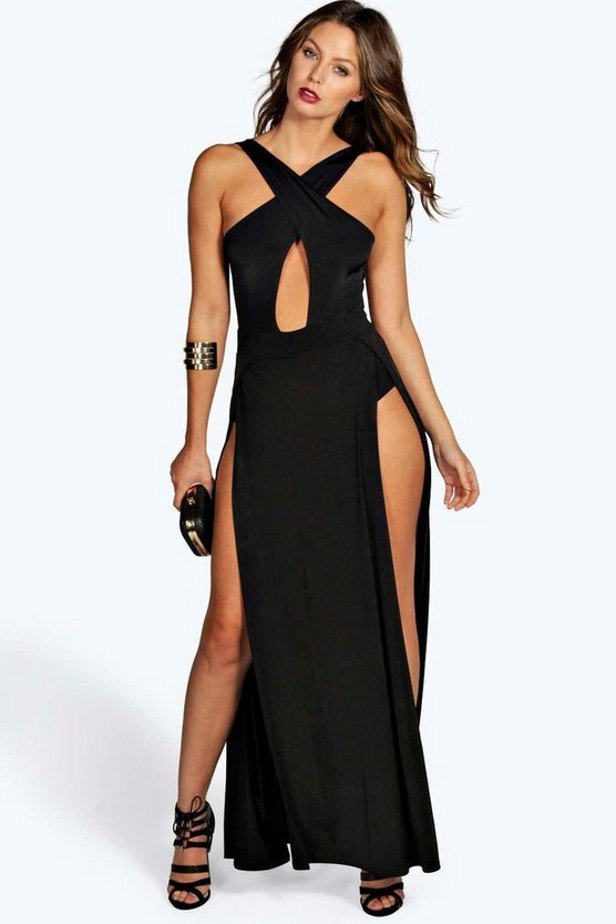 Ruby Slinky Crossover Thigh Split Maxi Dress