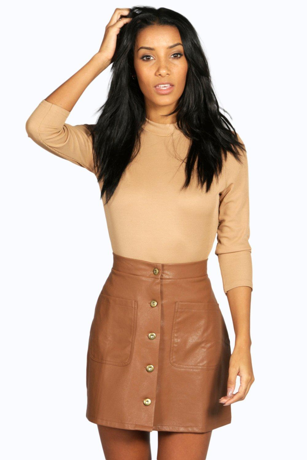 Buttom A Line Leather Look Midi Skirt tan