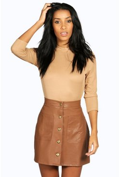 Lorena Button A Line Leather Look Mini Skirt