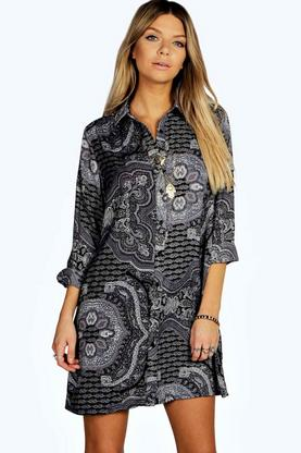 Dora Paisley Pleat Back Shirt Dress