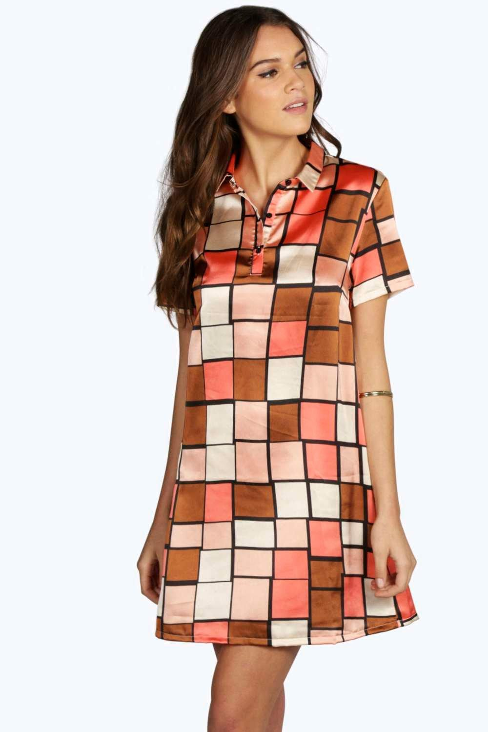 Loulou Geo Short Sleeve Shirt Dress