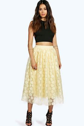 Boutique Rose Contrast Lace Full Midi Skirt