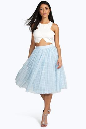 Boutique Marin Grid Tulle Full Midi Skirt