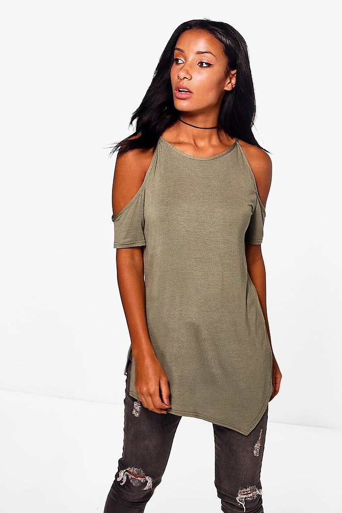 Hannah Cold Shoulder Side Split Tee