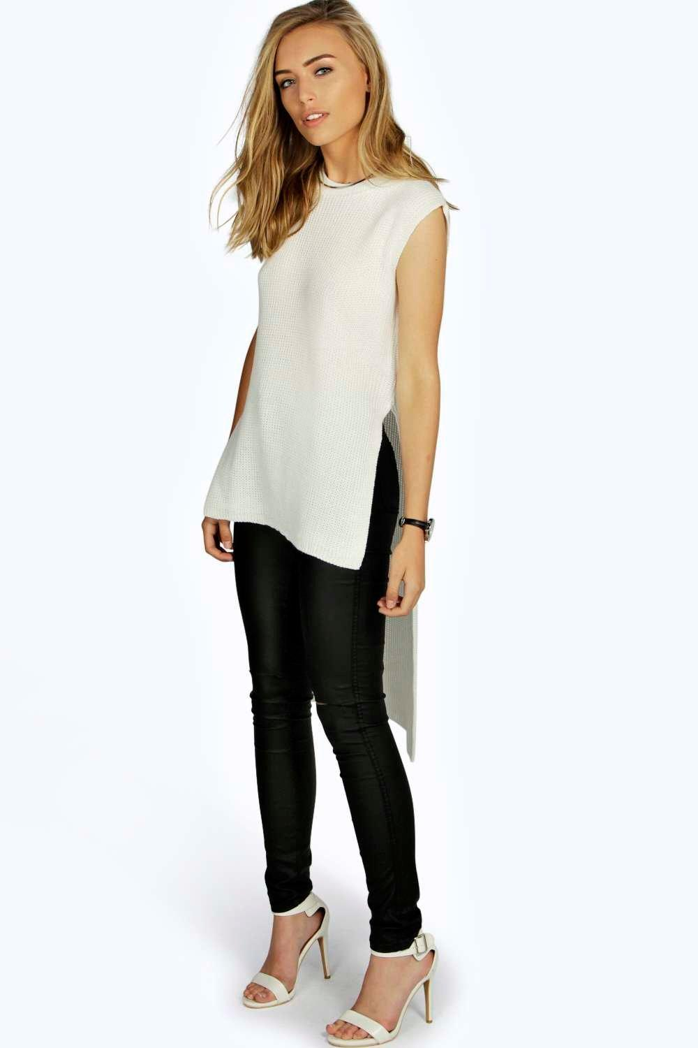 Lacey Side Split Sleeveless Tunic