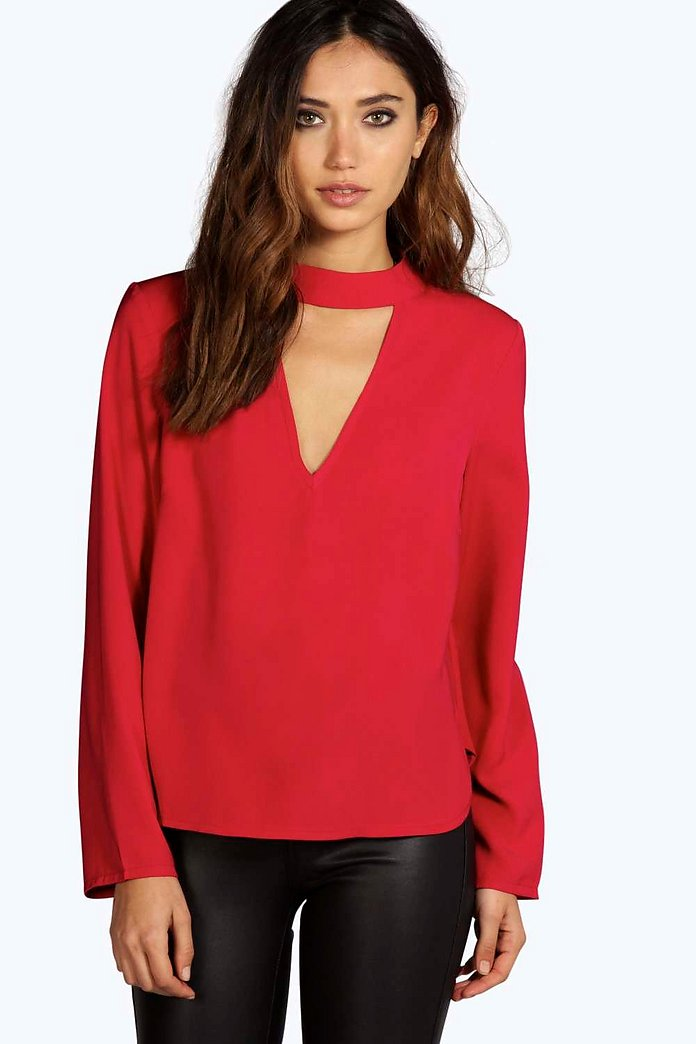 Una Open Choker Neck Detail Long Sleeve Blouse