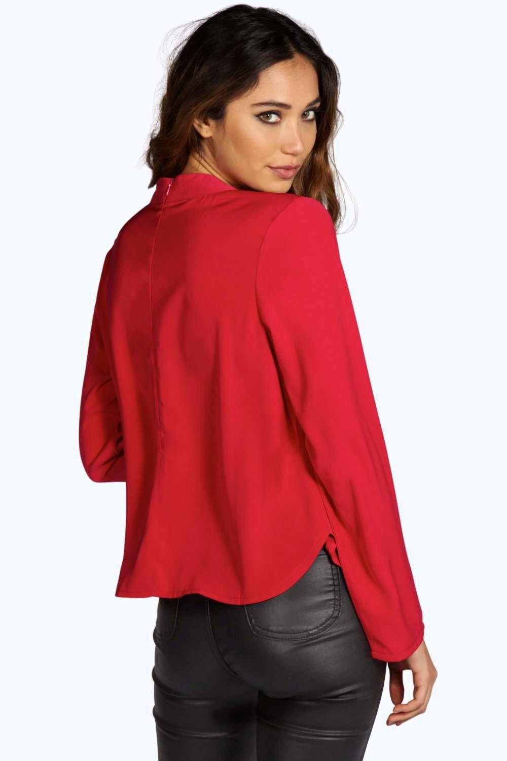 Boohoo womens una open back detail long sleeve blouse ebay for Long sleeve open shirt