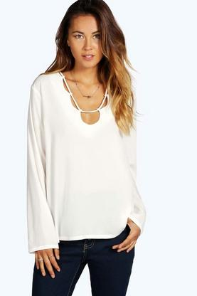 Faye Loop Neck Detail Blouse