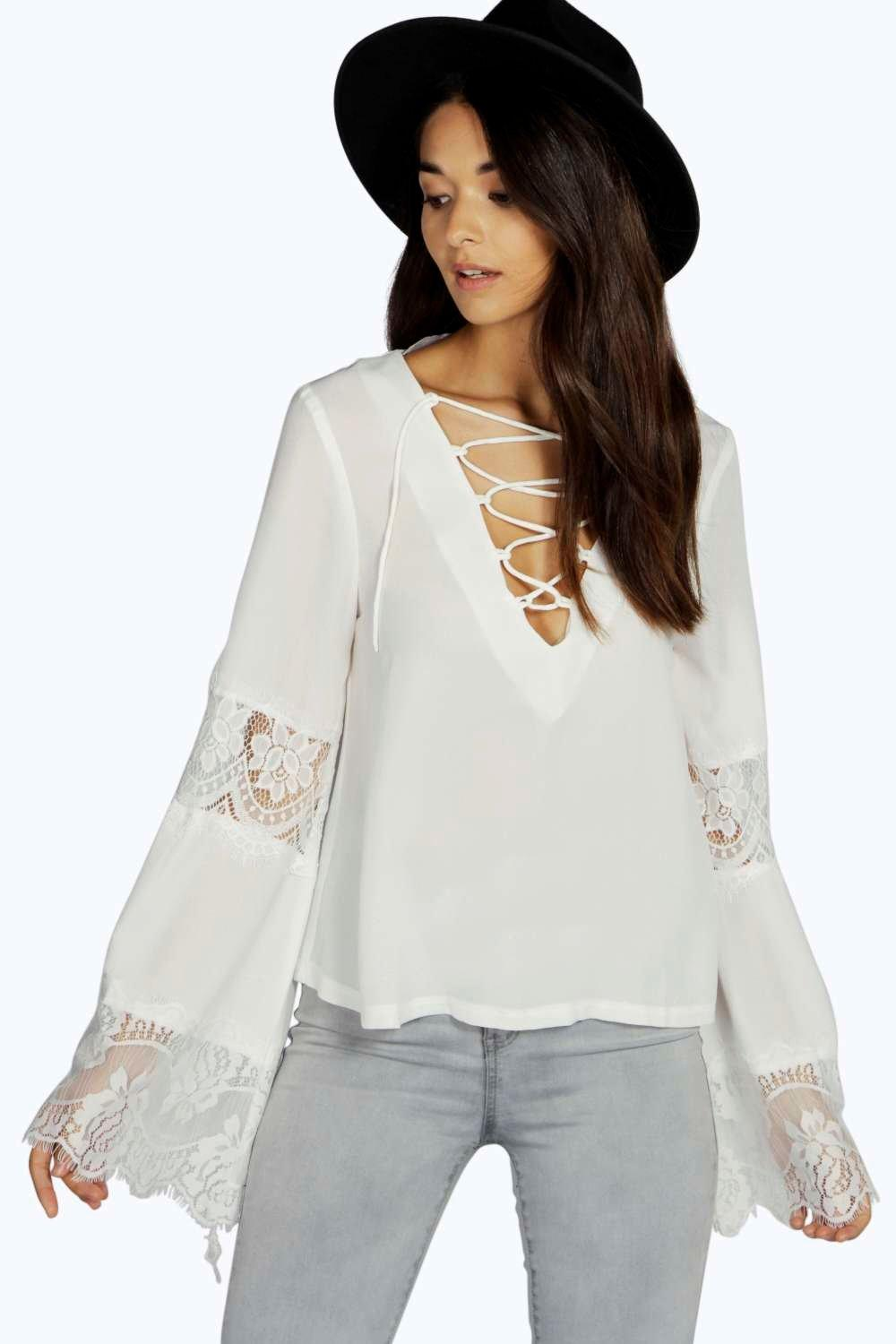 Kerrie Lace Up Bell Sleeve Blouse
