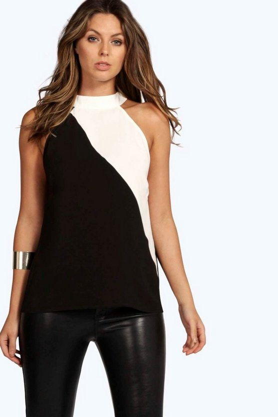 Rosie Spliced High Neck Woven Top