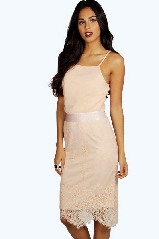Boutique Sophie Lace Skirt Midi Bodycon Dress