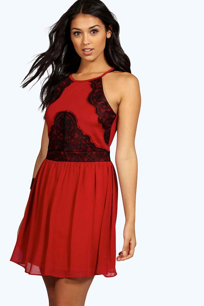 Boutique Debbi Eyelash Lace Panel Chiffon Skater Dress