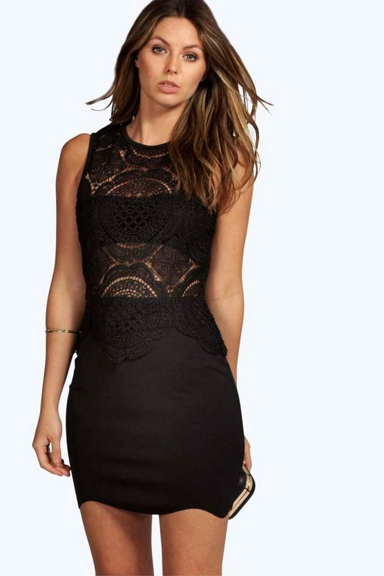 Boutique Nancy Lace Top Detail Bodycon Dress
