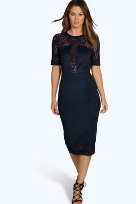 Boutique Jo Lace Panel Midi Bodycon Dress