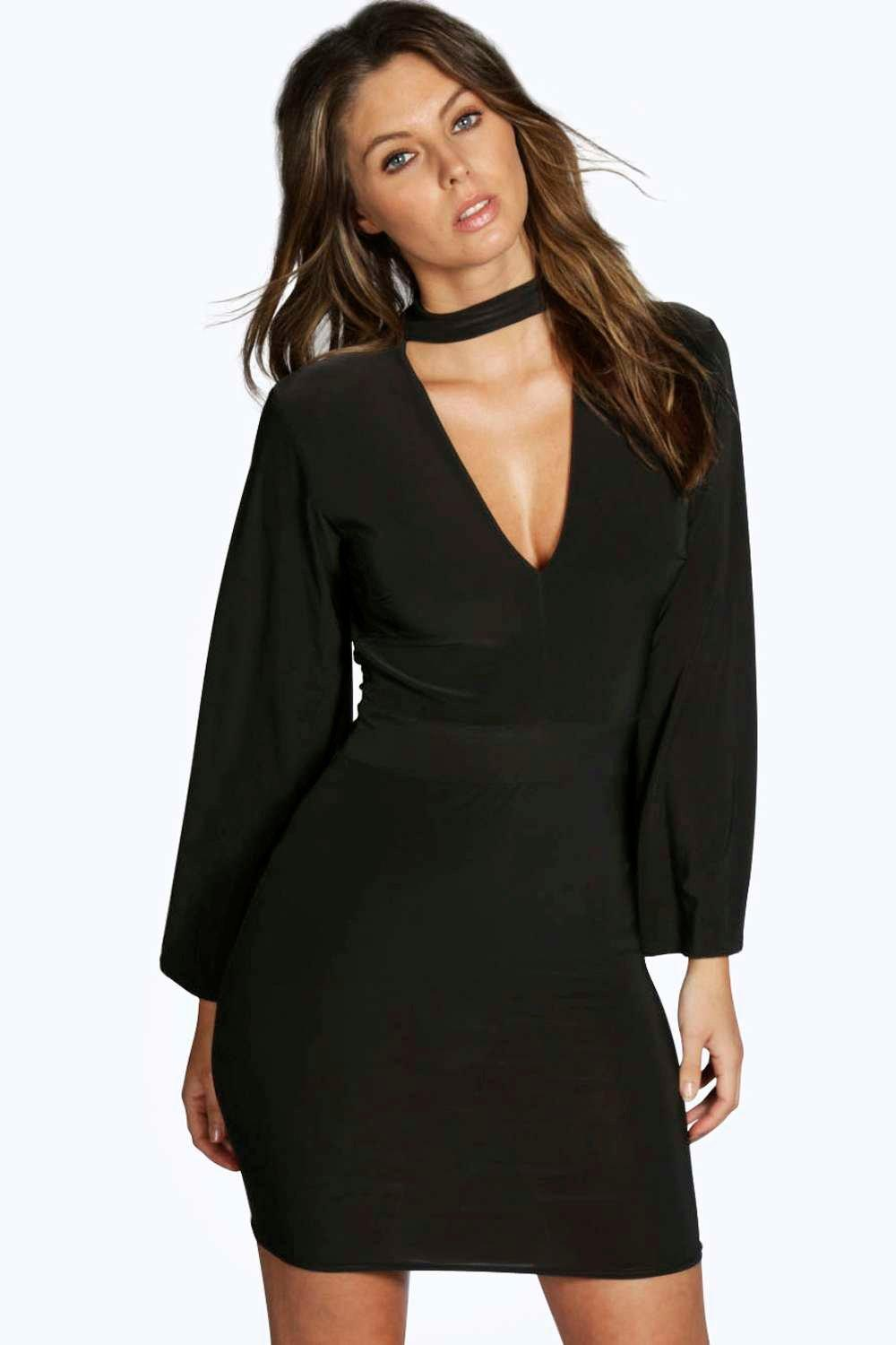 Sia High Neck Plunge Bodycon Dress