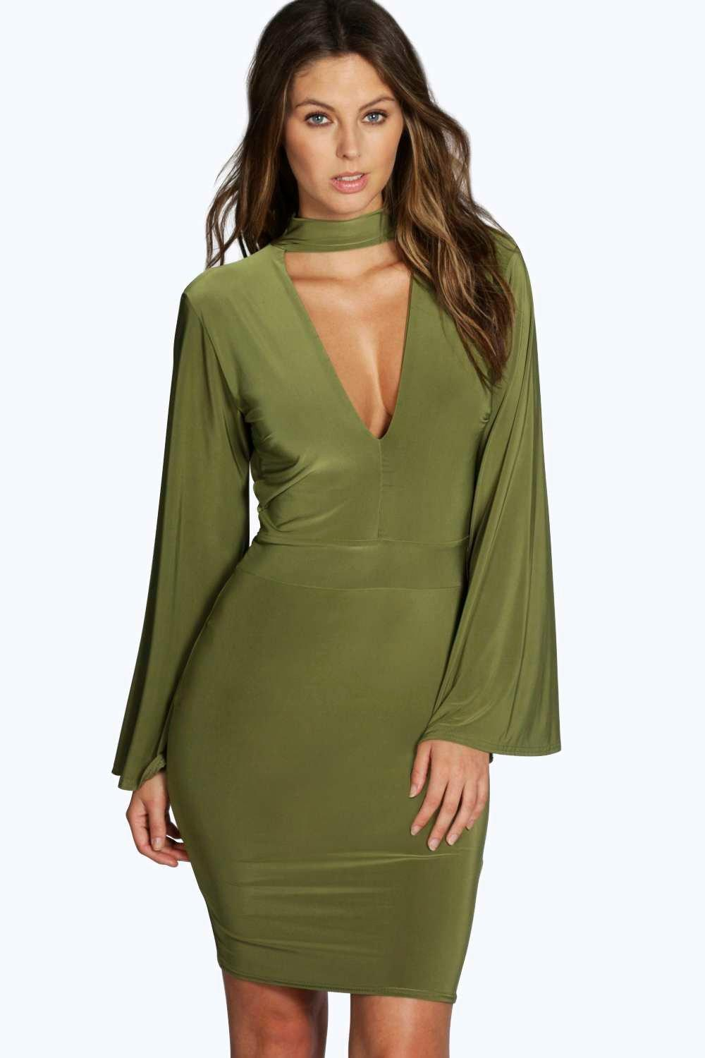 High Neck Plunge Bodycon Dress - olive