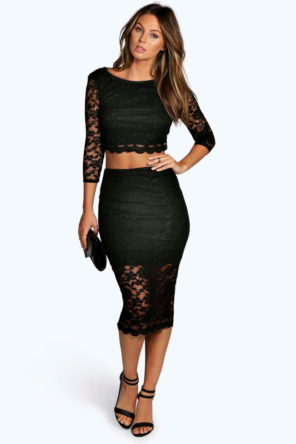 Abby Scallop Lace Open Back Midi Co-Ord Set