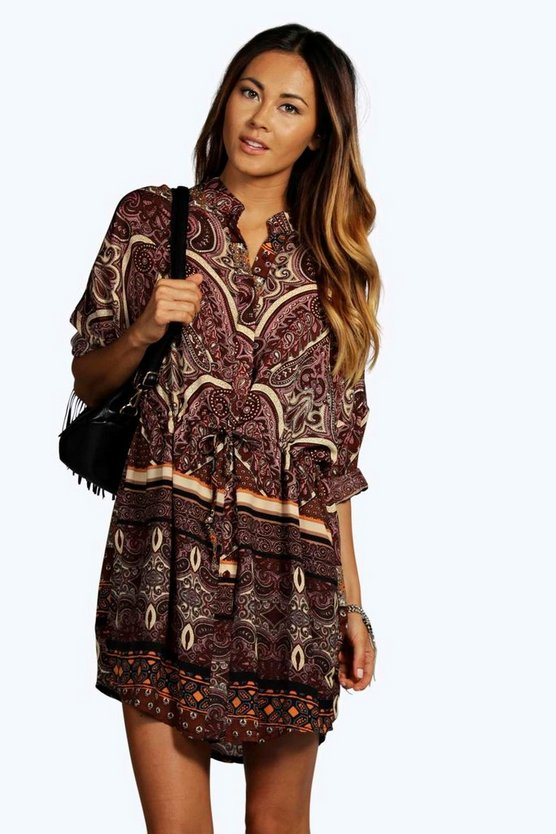 Ana Woven Paisley Print Shirt Dress