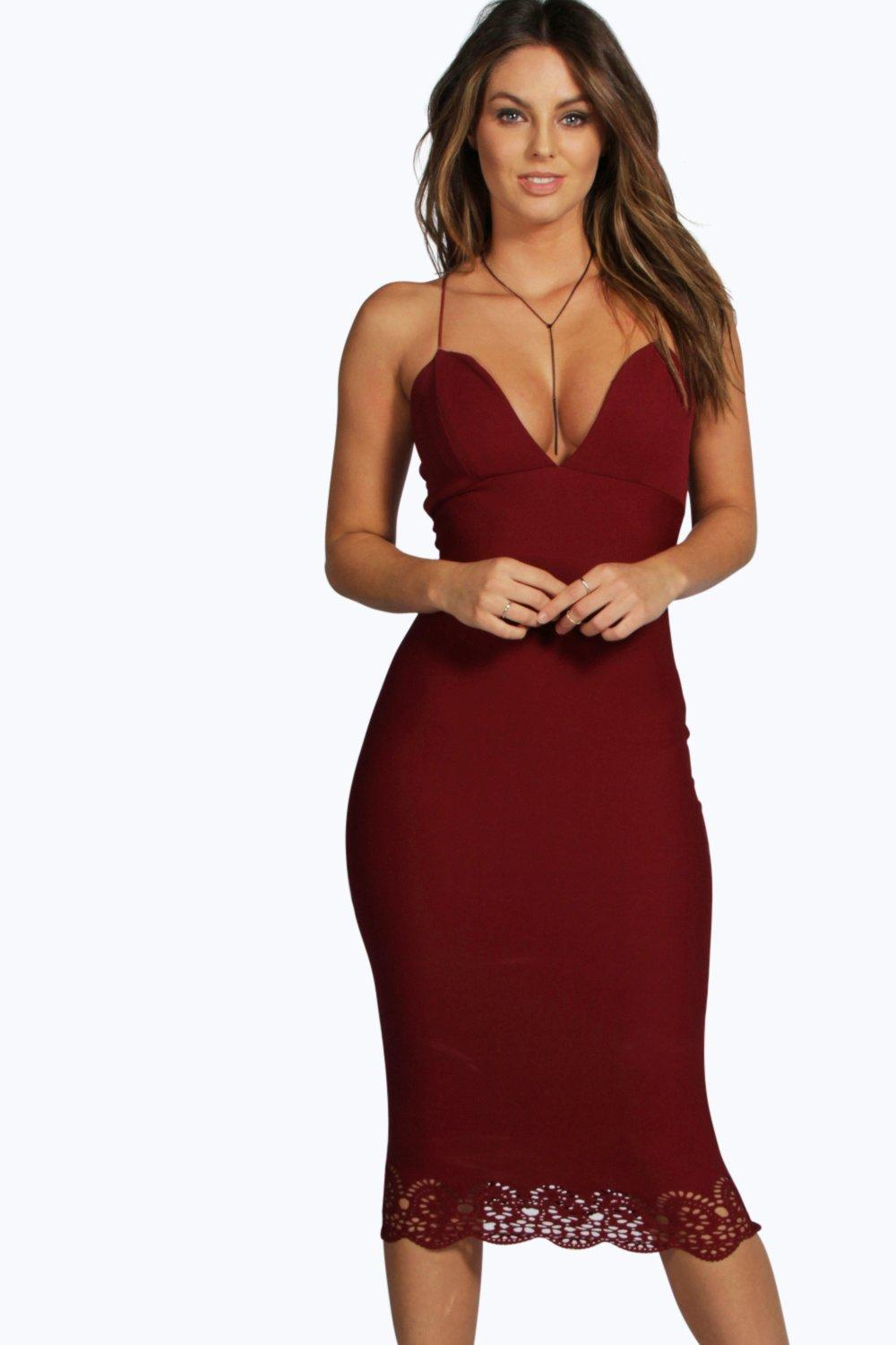 Faye Scallop Laser Cut Hem Midi Dress