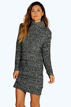 Lexi Roll Neck Marl Jumper Dress